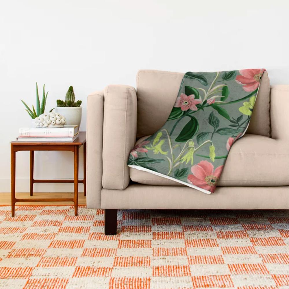 Floral Summer Pattern Throw Blanket B