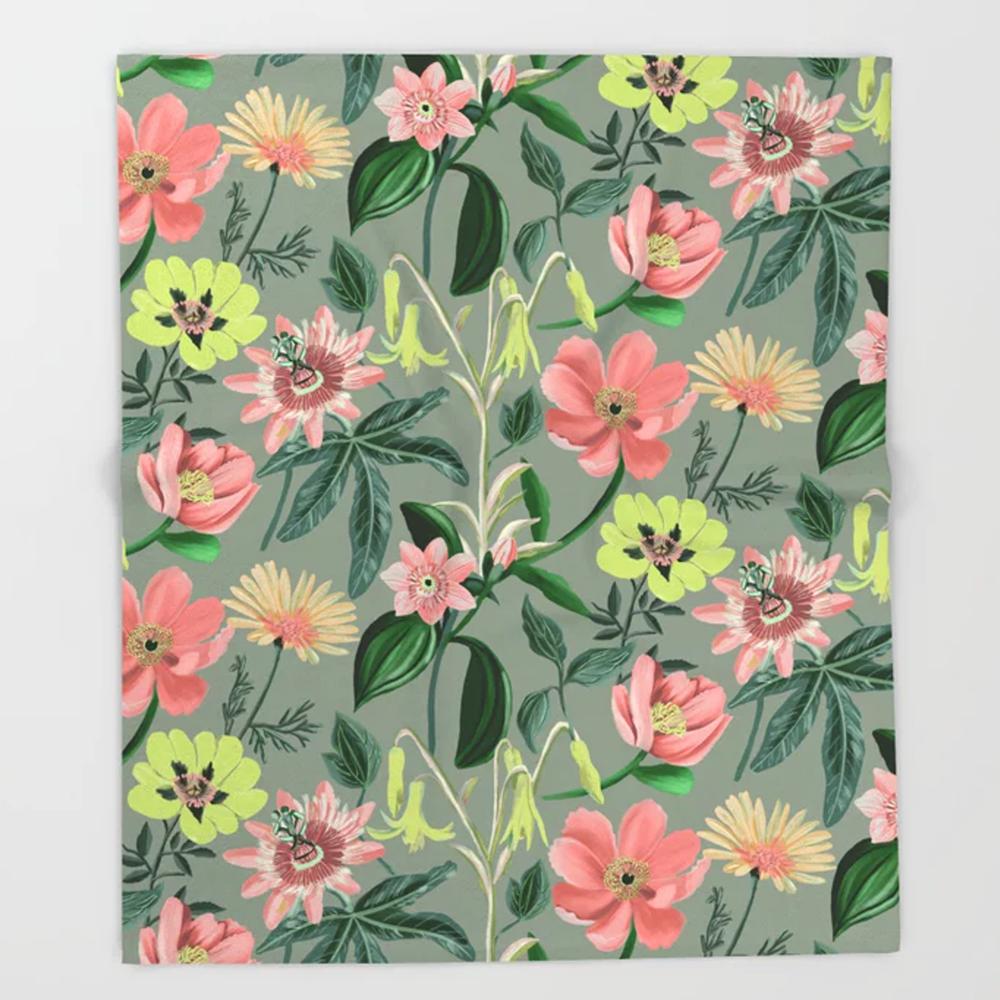 Floral Summer Pattern Throw Blanket by Happy People Prints