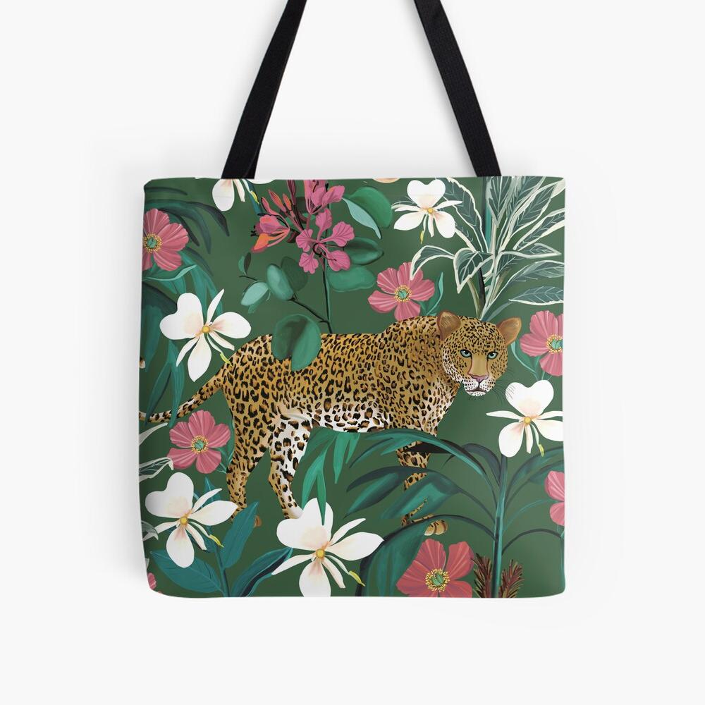 Green Jungle Leopard Totebag Happy People Prints