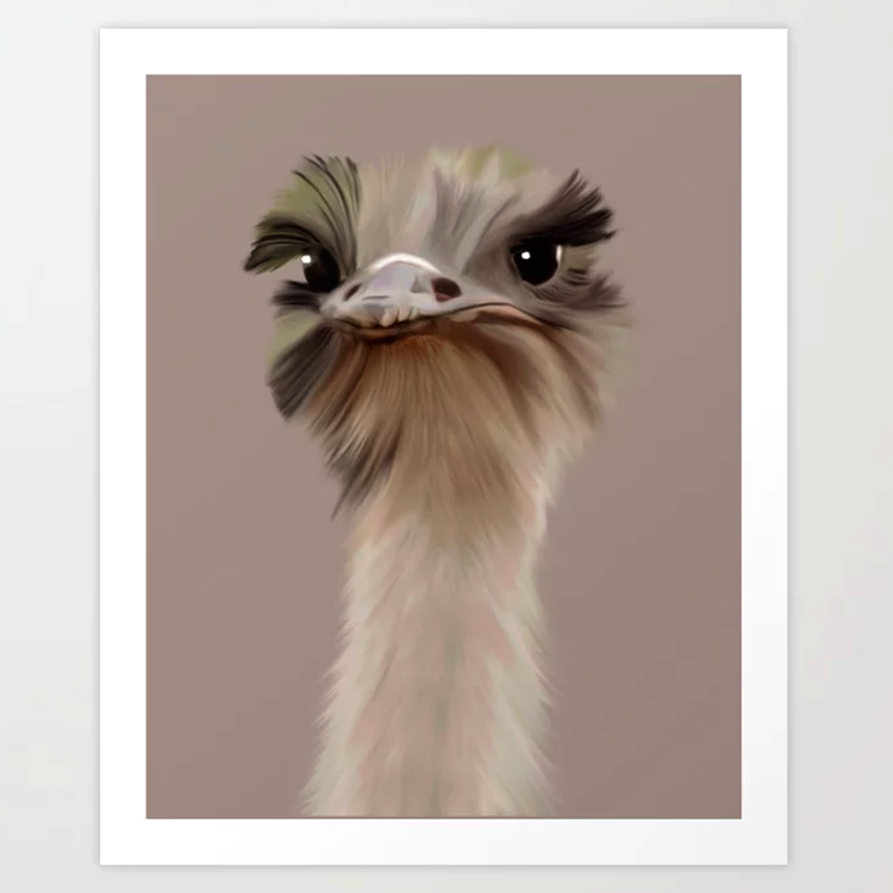 ostrich art print by happy people prints