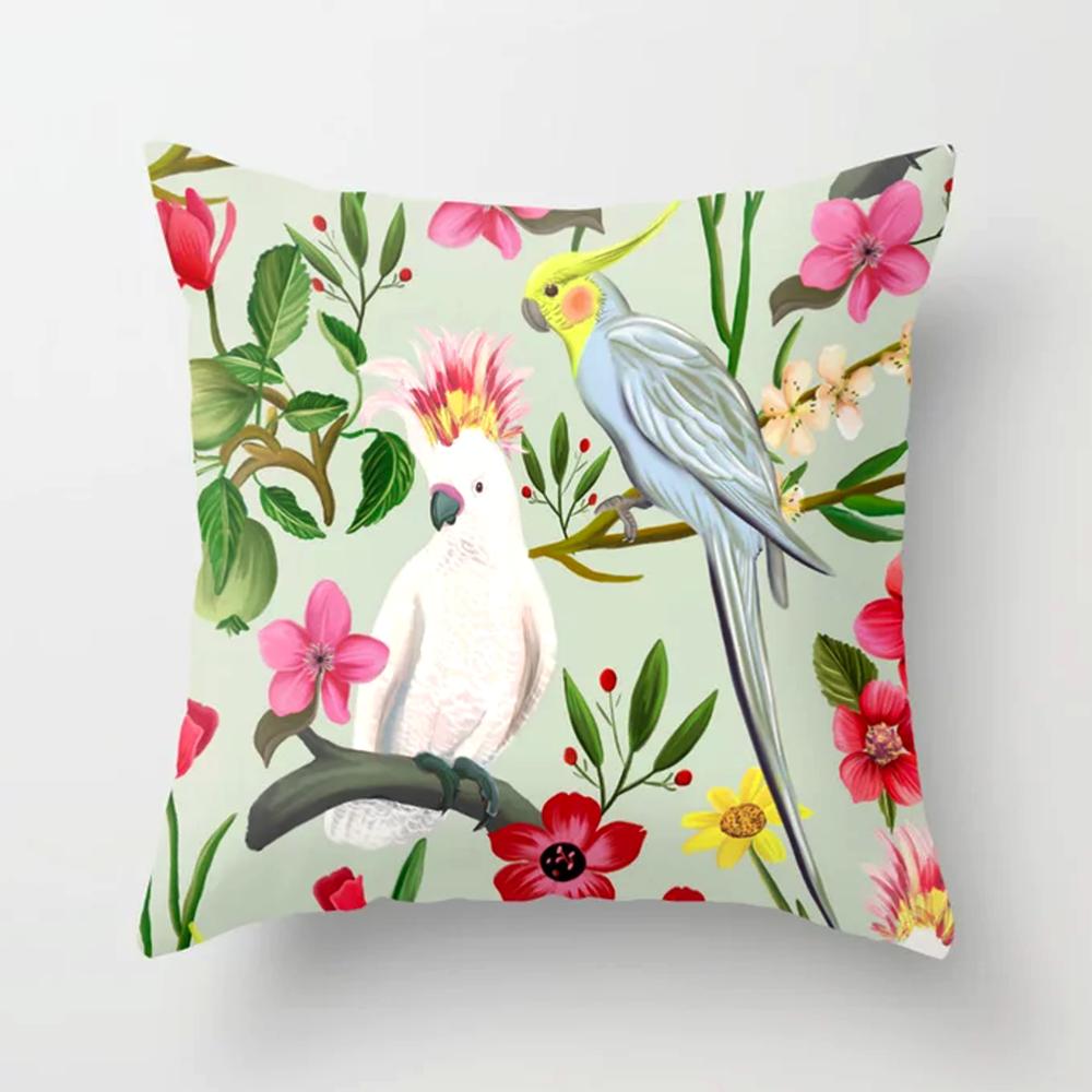 Parakeet Cockatoo Garden Throw Pillow 1