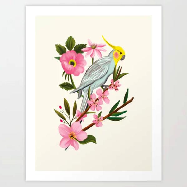 Parakeet Cream Art Print by Happy People Prints