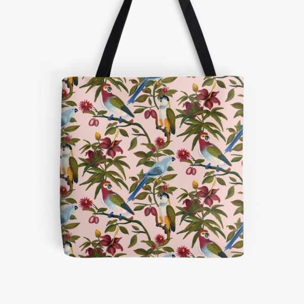 Pink Tote Bag Floral Parrot Pattern