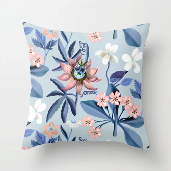 Pastel Passion flower Throw Pillow by Happy People Prints