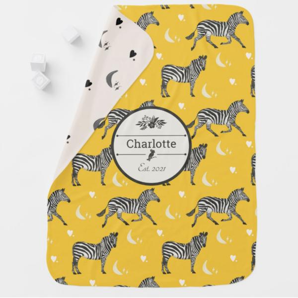 Personalized Yellow Cream Zebra Baby Blanket