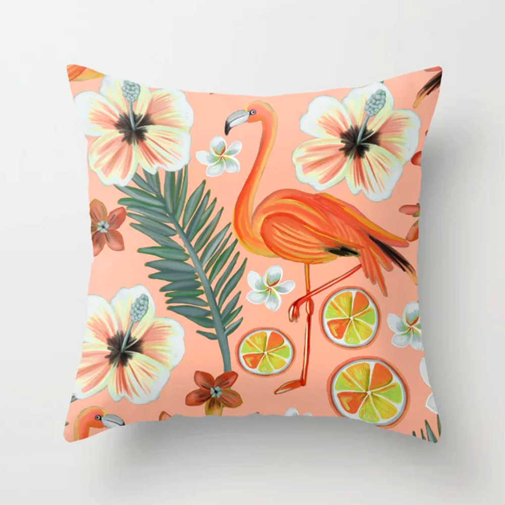 tropical summer-orange-pink flamingo throw pillow by Happy People Prints