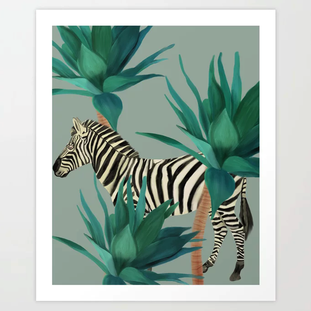 zebra art print with illustrations from Happy People Prints