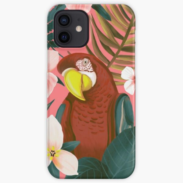 Pink iPhone 12 Case with parrot illustration from Happy People Prints
