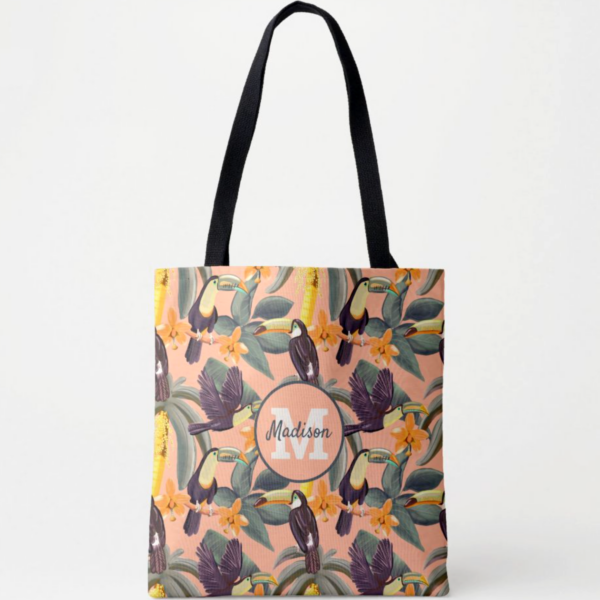 Personalized Tropical Toucan Pattern Tote Bag
