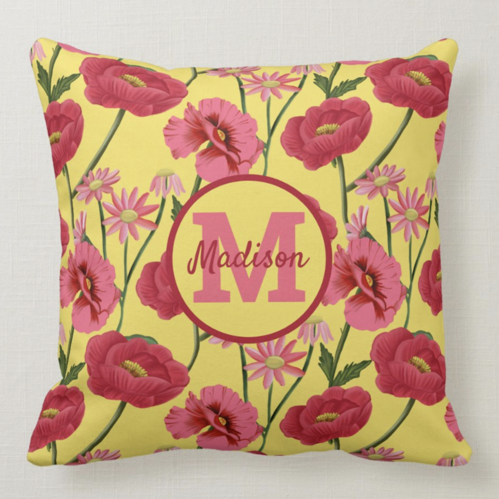 Personalized Yellow And Pink Floral Poppy Pattern Throw Pillow-front