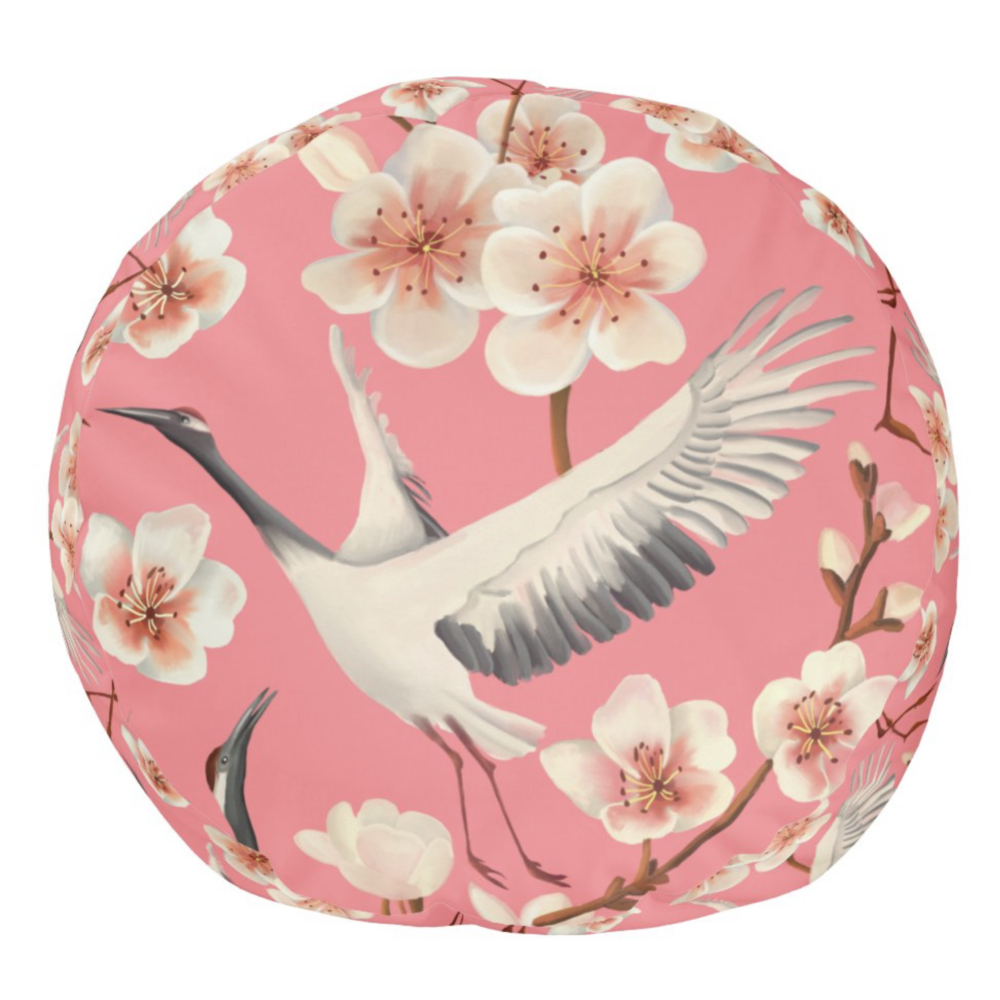 Pink Cherry Blossom Japanese Cranes Pattern Pouf